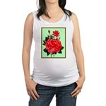 Red, Red Roses Vintage Print Maternity Tank Top