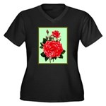 Red, Red Roses Vintage Print Plus Size T-Shirt