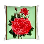 Red, Red Roses Vintage Print Everyday Pillow
