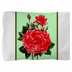 Red, Red Roses Vintage Print Pillow Sham