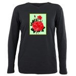 Red, Red Roses Vintage Print Plus Size Long Sleeve