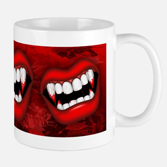 Vampire Red Bloody Mouth Mugs