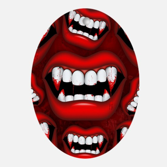 Vampire Red Bloody Mouth Oval Ornament