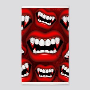 Vampire Red Bloody Mouth Area Rug