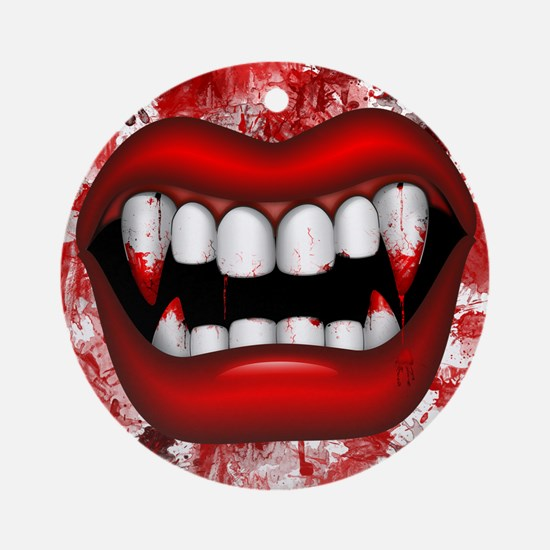 Vampire Red Bloody Mouth Round Ornament