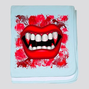 Vampire Red Bloody Mouth baby blanket