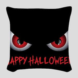 Spooky Eyes Happy Halloween Woven Throw Pillow