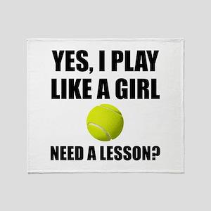 Like A Girl Tennis Throw Blanket