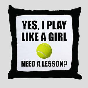 Like A Girl Tennis Throw Pillow