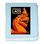 Laos Vintage Travel Print baby blanket