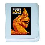 Laos Vintage Travel Print baby blanket