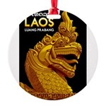 Laos Vintage Travel Print Round Ornament
