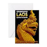 Laos Vintage Travel Print Greeting Cards