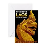 Laos Vintage Travel Print Greeting Cards