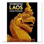 "Laos Vintage Travel Print Square Car Magnet 3"" x 3"