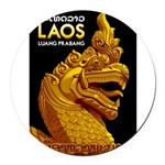 Laos Vintage Travel Print Round Car Magnet