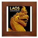 Laos Vintage Travel Print Framed Tile