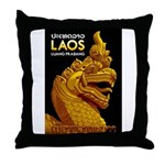 Laos Vintage Travel Print Throw Pillow