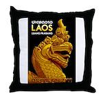 Laos Vintage Travel Print Throw Pillow
