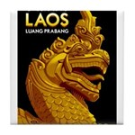 Laos Vintage Travel Print Tile Coaster
