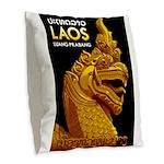 Laos Vintage Travel Print Burlap Throw Pillow