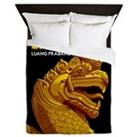 Laos Vintage Travel Print Queen Duvet