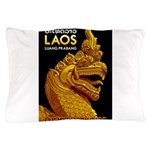 Laos Vintage Travel Print Pillow Case