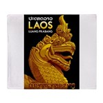 Laos Vintage Travel Print Throw Blanket