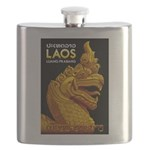 Laos Vintage Travel Print Flask