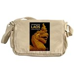 Laos Vintage Travel Print Messenger Bag