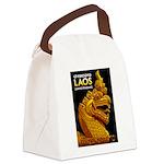 Laos Vintage Travel Print Canvas Lunch Bag