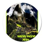 Machu Picchu Vintage Travel Advertising Print Roun