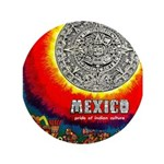 """Mexico Vintage Travel Advertising Print 3.5"""" Butto"""