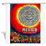 Mexico Vintage Travel Advertising Print Shower Cur