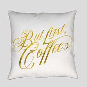 But First Coffee Gold Faux Foil Me Everyday Pillow
