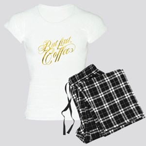 But First Coffee Gold Faux Women's Light Pajamas