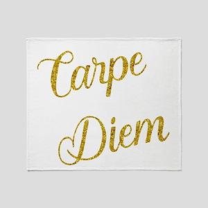 Carpe Diem Gold Faux Foil Metallic G Throw Blanket