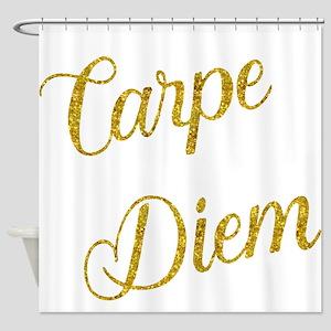 Carpe Diem Gold Faux Foil Metallic Shower Curtain