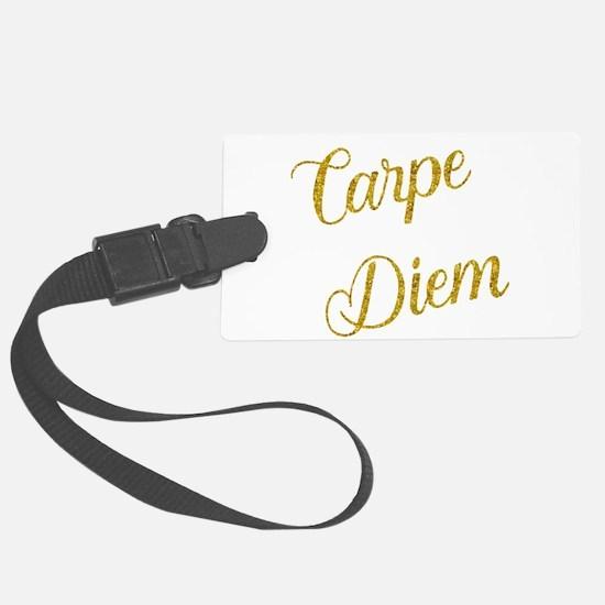 Carpe Diem Gold Faux Foil Metall Luggage Tag