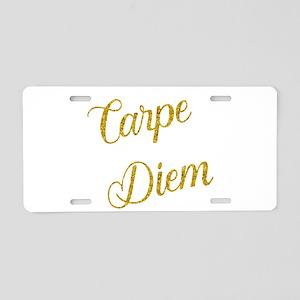 Carpe Diem Gold Faux Foil M Aluminum License Plate
