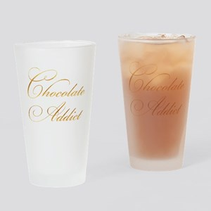 Chocolate Addict Gold Faux Foil Met Drinking Glass