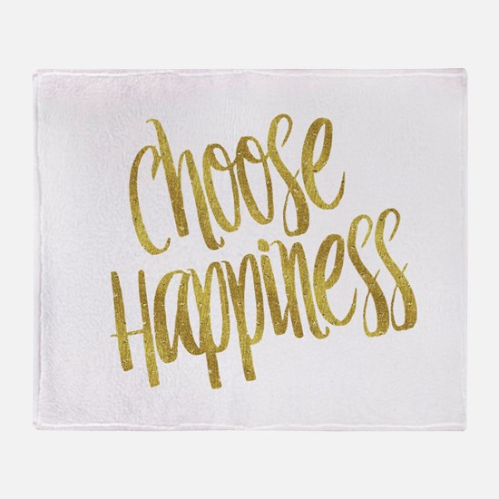 Choose Happiness Gold Faux Foil Meta Throw Blanket