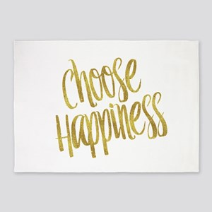 Choose Happiness Gold Faux Foil Met 5'x7'Area Rug