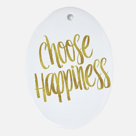 Choose Happiness Gold Faux Foil Meta Oval Ornament
