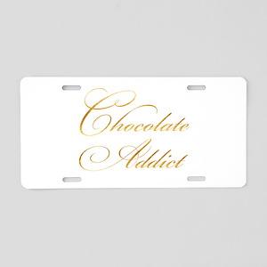 Chocolate Addict Gold Faux Aluminum License Plate