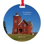 Two Harbors Lighthouse Aluminum Round Ornament