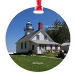 Old Mission Point Lighthouse Round Ornament