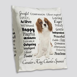 Cavalier Traits Burlap Throw Pillow