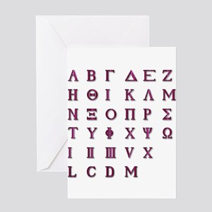 Isolated Greek Alphabet Greeting Cards
