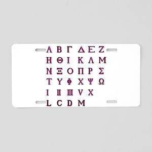 Isolated Greek Alphabet Aluminum License Plate